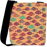 Snoogg Multicolor Fishes Designer Womens Carry Around Cross Body Tote Handbag Sling Bags RPC-9973-SLTOBAG