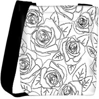 Snoogg Black Roses White Pattern Designer Womens Carry Around Cross Body Tote Handbag Sling Bags RPC-9979-SLTOBAG