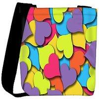 Snoogg Multicolor Hearts Designer Womens Carry Around Cross Body Tote Handbag Sling Bags RPC-10013-SLTOBAG