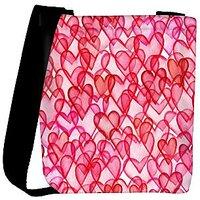 Snoogg Red Hearts Designer Womens Carry Around Cross Body Tote Handbag Sling Bags RPC-10018-SLTOBAG
