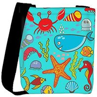 Snoogg Colorful Fishes Designer Womens Carry Around Cross Body Tote Handbag Sling Bags RPC-10043-SLTOBAG