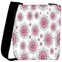 Snoogg Pink Circles Designer Womens Carry Around Cross Body Tote Handbag Sling Bags RPC-10640-SLTOBAG