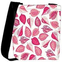Snoogg Pink Leaves Designer Womens Carry Around Cross Body Tote Handbag Sling Bags RPC-10655-SLTOBAG