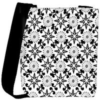 Snoogg Black And White Pattern Designer Womens Carry Around Cross Body Tote Handbag Sling Bags RPC-10876-SLTOBAG