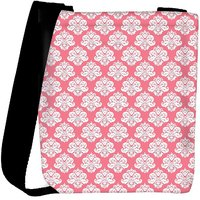 Snoogg Abstract White Pink Pattern 2 Designer Womens Carry Around Cross Body Tote Handbag Sling Bags RPC-10116-SLTOBAG
