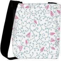 Snoogg Pink Flower Designer Womens Carry Around Cross Body Tote Handbag Sling Bags RPC-10745-SLTOBAG
