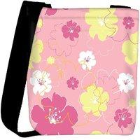 Snoogg Pink Flowers Designer Womens Carry Around Cross Body Tote Handbag Sling Bags RPC-10925-SLTOBAG