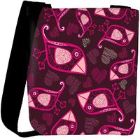Snoogg Abstract Pink Birds And Hearts Designer Womens Carry Around Cross Body Tote Handbag Sling Bags RPC-10135-SLTOBAG