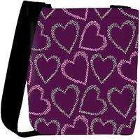 Snoogg Multiple Hearts Pink Pattern Designer Womens Carry Around Cross Body Tote Handbag Sling Bags RPC-10167-SLTOBAG