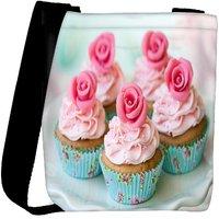 Snoogg Cake With Roses Designer Womens Carry Around Cross Body Tote Handbag Sling Bags RPC-6623-SLTOBAG
