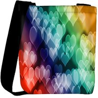 Snoogg Colored Hearts Designer Womens Carry Around Cross Body Tote Handbag Sling Bags RPC-6648-SLTOBAG