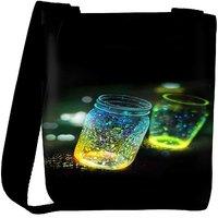 Snoogg Fluorescence Glitter Glass Bottle In Bokeh Dark Designer Womens Carry Around Cross Body Tote Handbag Sling Bags RPC-6870-SLTOBAG