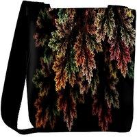 Snoogg Fractal Leaves Digital Art Designer Womens Carry Around Cross Body Tote Handbag Sling Bags RPC-6886-SLTOBAG