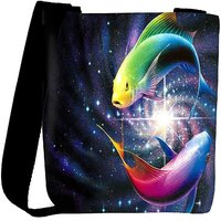 Snoogg Colorful Fish Designer Womens Carry Around Cross Body Tote Handbag Sling Bags RPC-6894-SLTOBAG