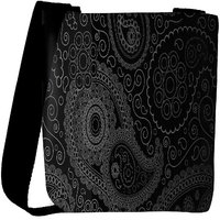 Snoogg Paisely Pattern Black Designer Protective Back Case Cover For Oneplus 3 Designer Womens Carry Around Cross Body Tote Handbag Sling Bags RPC-3584-SLTOBAG