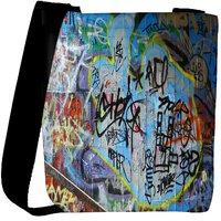 Snoogg Colorful Graffiti Street Paint Designer Womens Carry Around Cross Body Tote Handbag Sling Bags RPC-6653-SLTOBAG