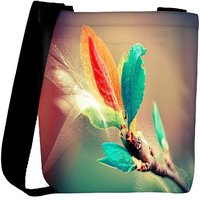 Snoogg Colorful Leaves Digital Art Designer Womens Carry Around Cross Body Tote Handbag Sling Bags RPC-6660-SLTOBAG