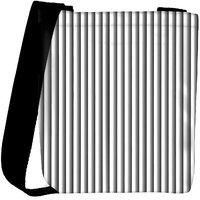 Snoogg Grey Vertical Lines Abstract Designer Womens Carry Around Cross Body Tote Handbag Sling Bags RPC-6967-SLTOBAG