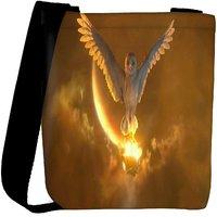 Snoogg Owls Guardians Designer Womens Carry Around Cross Body Tote Handbag Sling Bags RPC-7159-SLTOBAG