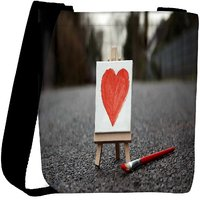 Snoogg Painted Heart Designer Womens Carry Around Cross Body Tote Handbag Sling Bags RPC-7162-SLTOBAG
