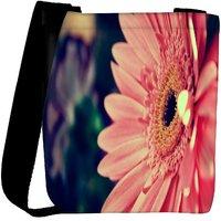 Snoogg Pink Gerbera Flower Designer Womens Carry Around Cross Body Tote Handbag Sling Bags RPC-7201-SLTOBAG