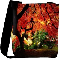 Snoogg Red Leaves In Trees Designer Womens Carry Around Cross Body Tote Handbag Sling Bags RPC-7635-SLTOBAG