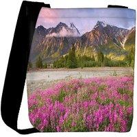 Snoogg Pink Flowers Designer Womens Carry Around Cross Body Tote Handbag Sling Bags RPC-8994-SLTOBAG