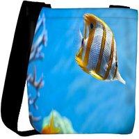 Snoogg Colorful Fish Designer Womens Carry Around Cross Body Tote Handbag Sling Bags RPC-9402-SLTOBAG