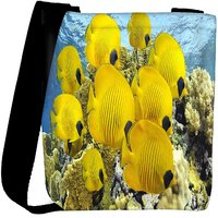 Snoogg Yellow Fish Designer Womens Carry Around Cross Body Tote Handbag Sling Bags RPC-9404-SLTOBAG