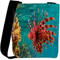 Snoogg Red Fish Designer Womens Carry Around Cross Body Tote Handbag Sling Bags RPC-9407-SLTOBAG
