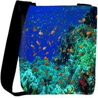 Snoogg Multiple Fish Designer Womens Carry Around Cross Body Tote Handbag Sling Bags RPC-9410-SLTOBAG