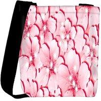 Snoogg Pink Flower Designer Womens Carry Around Cross Body Tote Handbag Sling Bags RPC-3615-SLTOBAG