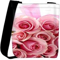 Snoogg Pink Flower Designer Womens Carry Around Cross Body Tote Handbag Sling Bags RPC-3616-SLTOBAG