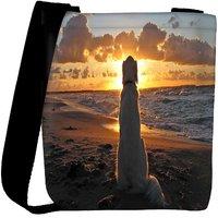 Snoogg Dog Watching Sunset Designer Womens Carry Around Cross Body Tote Handbag Sling Bags RPC-6777-SLTOBAG