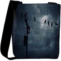 Snoogg Crows In The Rain Designer Womens Carry Around Cross Body Tote Handbag Sling Bags RPC-7233-SLTOBAG