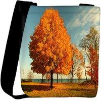 Snoogg Orange Leaves In Trees Designer Womens Carry Around Cross Body Tote Handbag Sling Bags RPC-7662-SLTOBAG