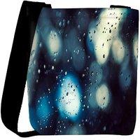 Snoogg Water Drops On Glass Designer Womens Carry Around Cross Body Tote Handbag Sling Bags RPC-9452-SLTOBAG