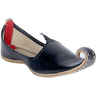 Panahi Black Rajasthani Leather Ethnic Mojari Khussa Juttis For Men
