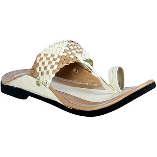 Panahi Cream Brown Synthetic Kolhapuri Chappals For Men