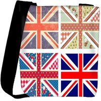 Snoogg 4 Cute British Flags In Shabby Chic Floral And Vintage Style Designer Protective Back Case Cover For Oneplus 3 Designer Womens Carry Around Cross Body Tote Handbag Sling Bags RPC-3706-SLTOBAG