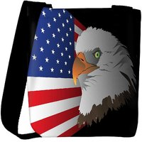 Snoogg Flag Background With Eagle Designer Womens Carry Around Cross Body Tote Handbag Sling Bags RPC-4408-SLTOBAG