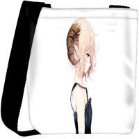 Snoogg Elf Girl With Ram Horns Designer Womens Carry Around Cross Body Tote Handbag Sling Bags RPC-6809-SLTOBAG