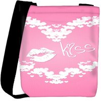 Snoogg Pink Kiss Designer Womens Carry Around Cross Body Tote Handbag Sling Bags RPC-7046-SLTOBAG