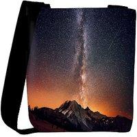 Snoogg Milky Way Above The Mountains Designer Womens Carry Around Cross Body Tote Handbag Sling Bags RPC-7071-SLTOBAG