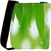 Snoogg Leaves Dew Drops Designer Womens Carry Around Cross Body Tote Handbag Sling Bags RPC-9550-SLTOBAG