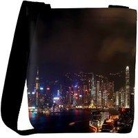 Snoogg Colorful City At Night Designer Womens Carry Around Cross Body Tote Handbag Sling Bags RPC-9557-SLTOBAG