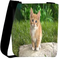 Snoogg Cute Cat Designer Womens Carry Around Cross Body Tote Handbag Sling Bags RPC-9559-SLTOBAG