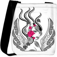 Snoogg Abstract Fairy With Red Flowers Designer Womens Carry Around Cross Body Tote Handbag Sling Bags RPC-3729-SLTOBAG