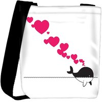 Snoogg Abstract Illustration Of Whale With Hearts Designer Protective Back Case Cover For Oneplus 3 Designer Womens Carry Around Cross Body Tote Handbag Sling Bags RPC-3775-SLTOBAG