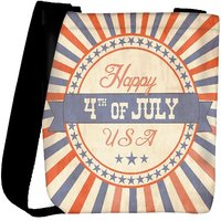 Snoogg Independence Day Greeting Card In Vintage Style Designer Womens Carry Around Cross Body Tote Handbag Sling Bags RPC-4665-SLTOBAG